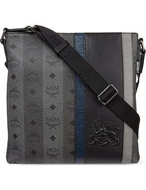 MCM Munich leather lion messenger