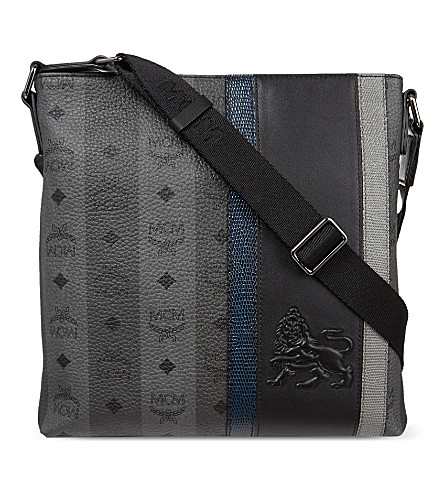 MCM Munich leather lion messenger (Grey