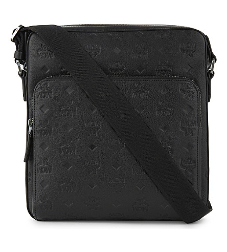 MCM Otto monogram small coated canvas messenger (Black