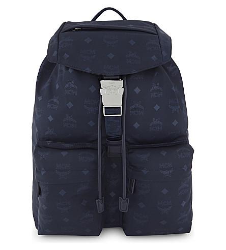 MCM Dieter monogram medium nylon backpack (Navy+blue
