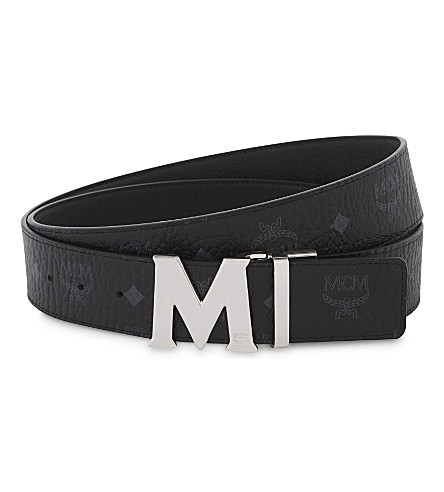 MCM Visetos leather reversible belt (Black