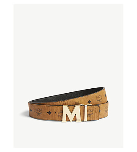 MCM Claus Visetos belt (Cognac+/+black