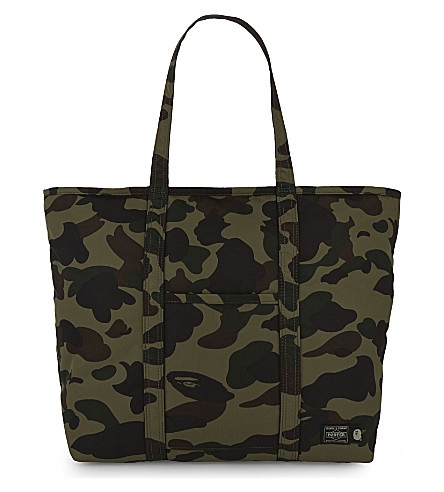 A BATHING APE Porter camo tote (Green