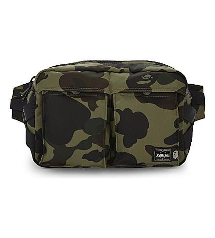 A BATHING APE Porter camo waist bag (Green