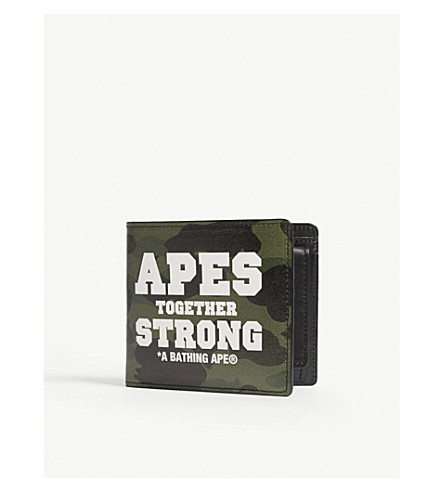 A BATHING APE Camouflage slogan leather wallet (Green+camo