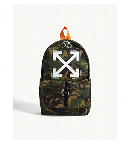 OFF-WHITE C/O VIRGIL ABLOH Camouflage print cotton canvas backpack (All+over+white