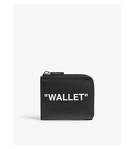 OFF-WHITE C/O VIRGIL ABLOH 报价皮革硬币钱包 (黑色 + 白色
