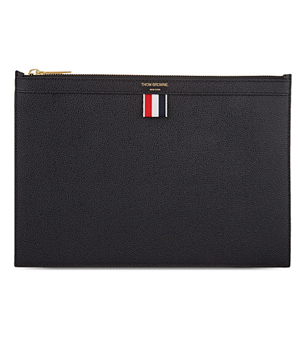 THOM BROWNE Zipper leather small tablet holder (Black