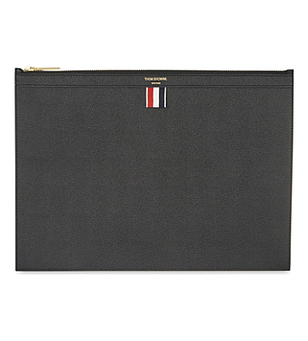 THOM BROWNE Medium leather document holder (Black