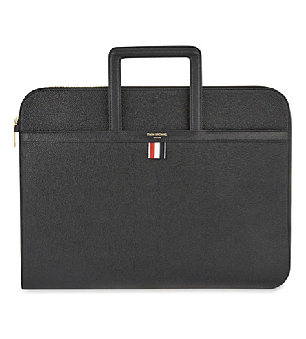 THOM BROWNE Leather document briefcase (Black