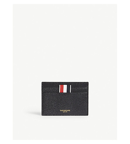 THOM BROWNE Leather card holder (Black