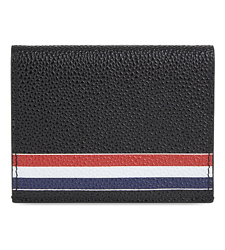 THOM BROWNE Striped leather card holder (Black