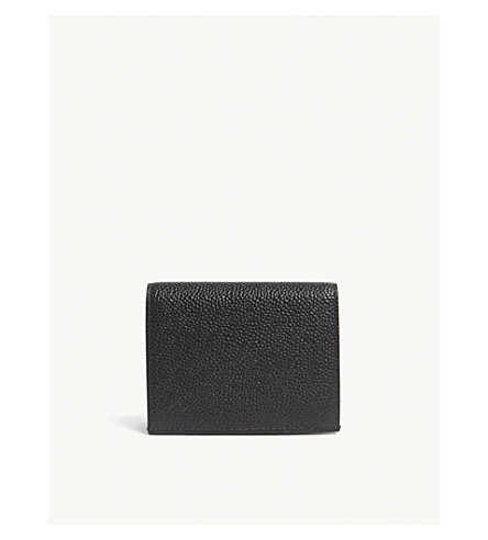 THOM BROWNE Pebbled leather double card holder (Black