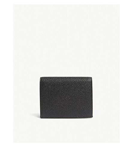 THOM BROWNE 鹅卵石皮革双卡夹 (黑色