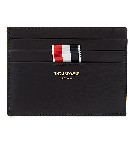 THOM BROWNE Calf leather card holder with note (Black