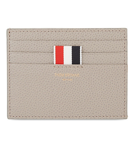 THOM BROWNE Grained leather card holder (Grey