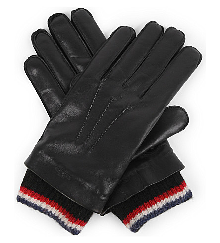 THOM BROWNE Stripe-trim leather and cashmere gloves (Black
