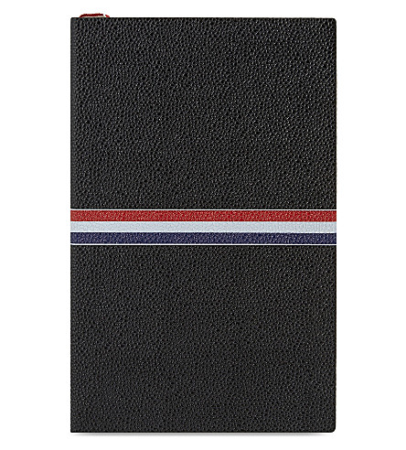 THOM BROWNE Pebbled grain leather large notebook (Black