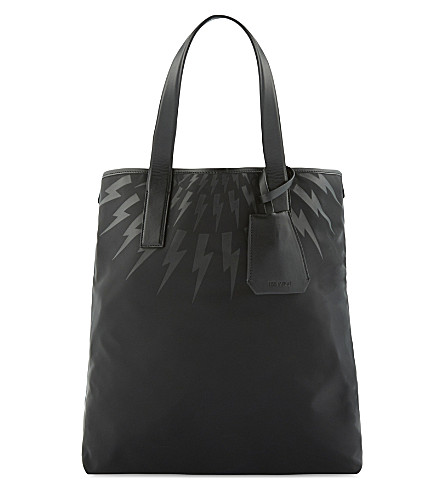 NEIL BARRETT Lightning bold print tote bag (Black