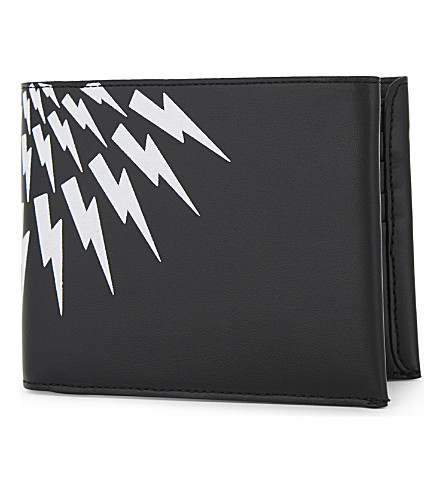 NEIL BARRETT White Thunder leather billfold wallet (Black/white/red
