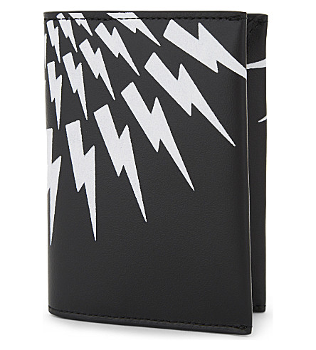 NEIL BARRETT White Thunder leather card holder (Black/white/red