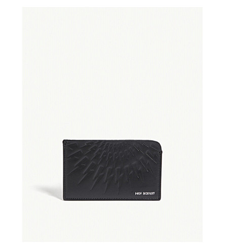 NEIL BARRETT Flat lightning bolt leather card holder (Black