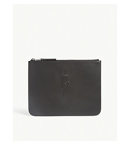 NEIL BARRETT Thunderbolt large leather pouch (Black