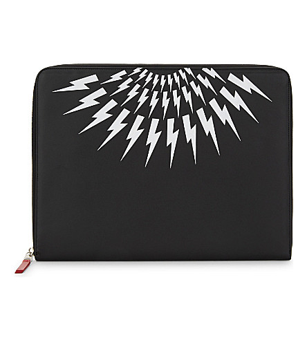 NEIL BARRETT Thunderbolt print leather document holder (Black/white/red