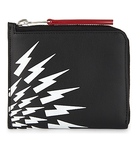 NEIL BARRETT White Thunder leather half-zip wallet (Black/white/red