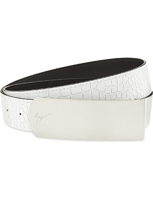 GIUSEPPE ZANOTTI Crocodile embossed leather belt