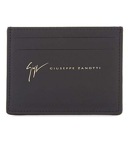 GIUSEPPE ZANOTTI Smooth leather cardholder (Black+gold