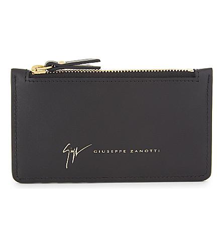 GIUSEPPE ZANOTTI Monty leather cardholder (Black+gold