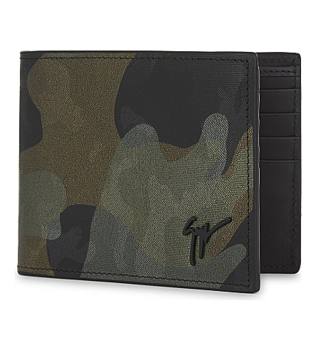 GIUSEPPE ZANOTTI Holographic camouflage leather billfold wallet (Green