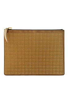 GIUSEPPE ZANOTTI Spiked leather document pouch
