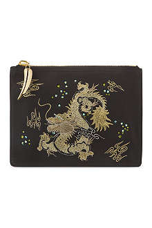 GIUSEPPE ZANOTTI Dragon embroidered leather pouch