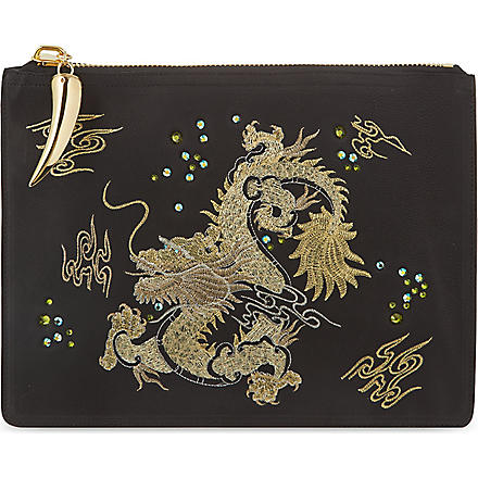 GIUSEPPE ZANOTTI Dragon embroidered leather pouch (Black