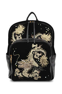 GIUSEPPE ZANOTTI Dragon-embroidered velvet backpack