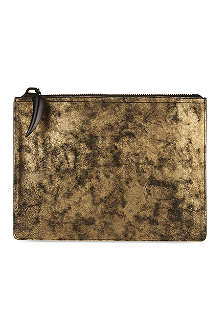 GIUSEPPE ZANOTTI Metallic leather document pouch