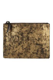 GIUSEPPE ZANOTTI Metallic leather document pouch
