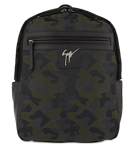 GIUSEPPE ZANOTTI Camouflage canvas and leather backpack (Green