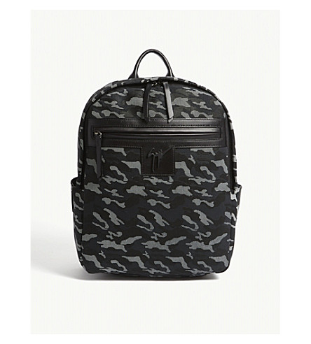 GIUSEPPE ZANOTTI Camouflage textured leather backpack (Black+camo