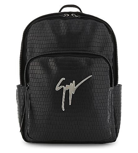 GIUSEPPE ZANOTTI Signature crocodile-embossed leather backpack (Black+silver