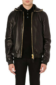 GIUSEPPE ZANOTTI Chain hood leather jacket