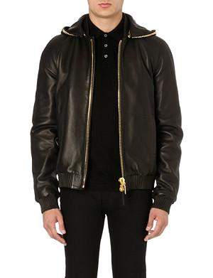 GIUSEPPE ZANOTTI Chain hood leather jacket