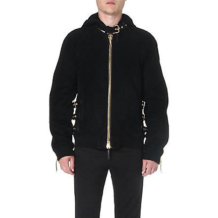 GIUSEPPE ZANOTTI Buckle-detailed suede jacket (Black