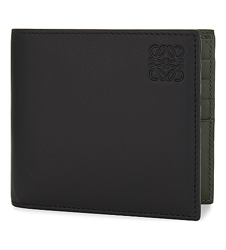 LOEWE Two-tone leather billfold wallet (Black+khaki+green