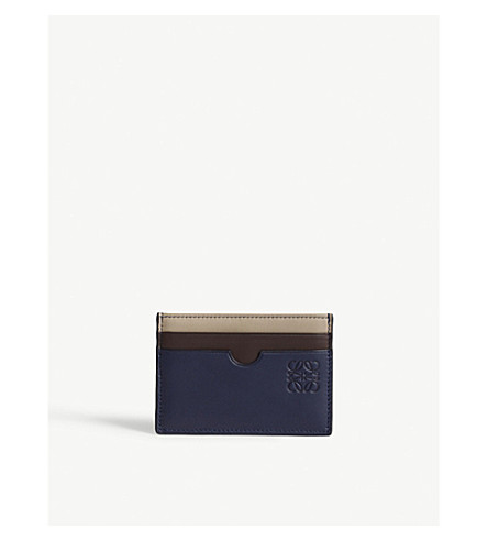 LOEWE Plain leather card holder (Blue+multicolour