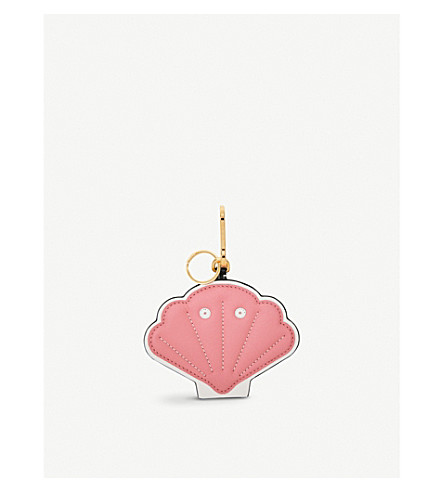 LOEWE Shell leather charm keyring (Candy+white