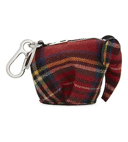 LOEWE Tartan wool Elephant coin purse (Red+tartan