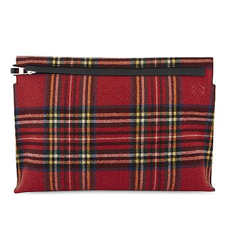 LOEWE Tartan leather pouch (Black+multicol+tartan